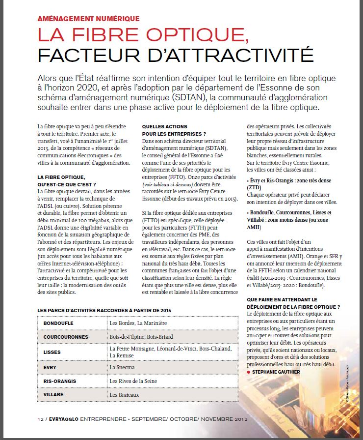 Article-fibre-optique-Evry-Entreprendre-sept-2013